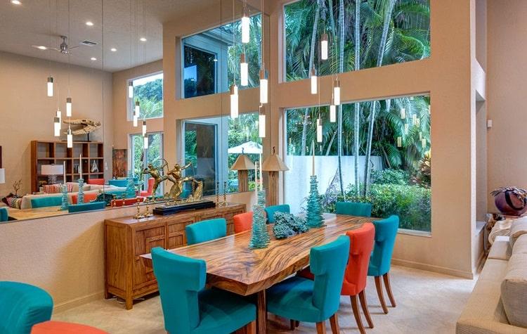 رنگ مرجانی دکوراسیون خانه و باغ ویلا